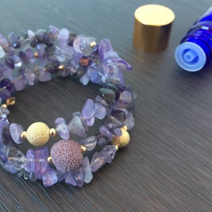 Gemstone lava bead jewellery with essential oils
