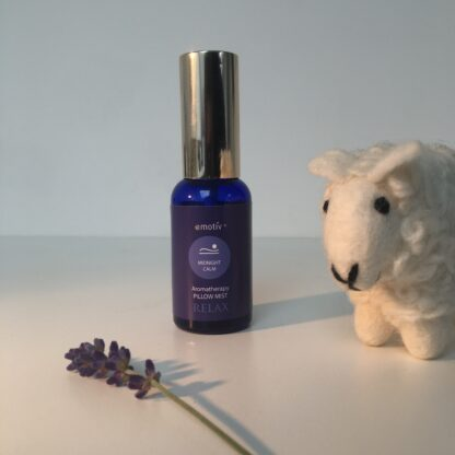 Lavender pillow spray and sleepy sheep. Spray the essential oil blend over the little cream coloured woollen sheep and place by your bed for deep relaxation before sleep