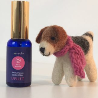 Happy Hound felt dog with knitted pink scarf and uplifting aromatherapy room spray by Emotiv Aromatherapy