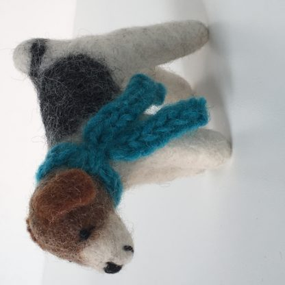 Happy Hound felt dog - spray with the aromatherapy blend to hold the scent for hours