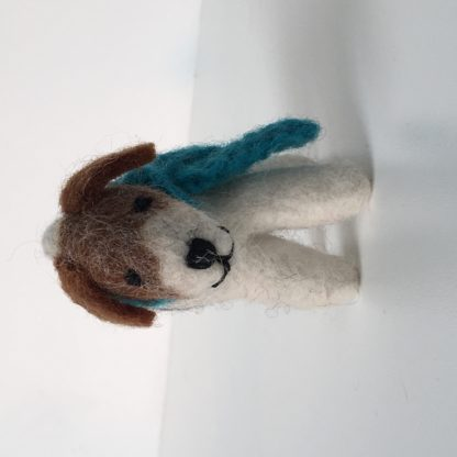 Happy Hound felt dog with knitted blue scarf - spray with Emotiv Aromatherapy room spray to hold the scent for hours