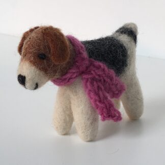 HappHound felt dog with pink wooden scarf - spray with Emotiv Aromatherapy room spray to hold the scent for hours