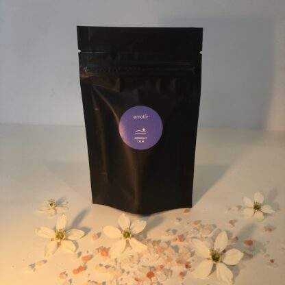 Midnight Calm soothing bath soak by Emotiv Aromatherapy. A pre sleep essential oil blend with Epson and Himalayan pink salts to help relax your mind and body.